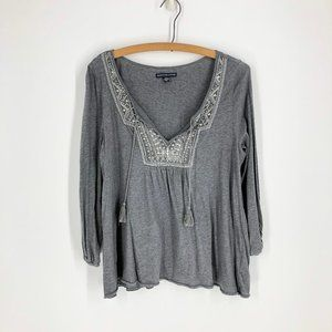 🌈3/22 American Eagle | Gray Peasant Top Sz M